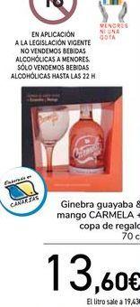 Oferta de Ginebra guayaba & mango CARMELA + copa de regalo  por 13,6€