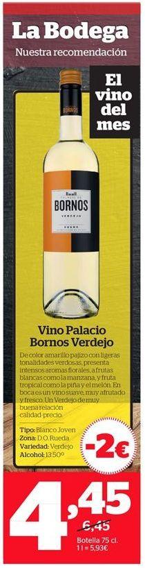 Oferta de Vino Palacio de Bornos por 4,45€