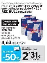Oferta de Bebida energética Red Bull por 4,63€