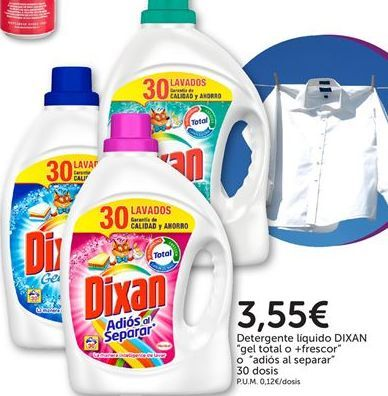 Oferta de Detergente líquido gel total o + frecor o Adios al separ Dixan por 3,55€