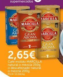 Oferta de Café molido natural o mezcla o descafeinado natural Marcilla por 2,65€