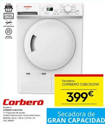 Oferta de Secadoras Corberó por 399€