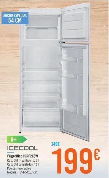 Oferta de Frigorífico ICRF263W ICECOOL por 199€