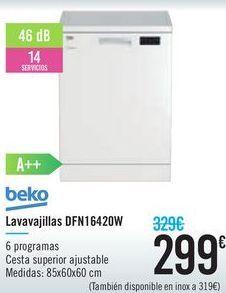 Oferta de Lavavajillas DFN16420W Beko  por 299€