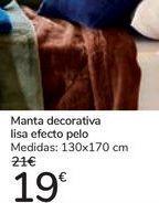 Oferta de Manta decorativa lisa efecto pelo  por 19€