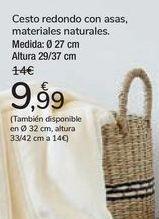 Oferta de Cesto redondo con asas, materiales naturales  por 9,99€