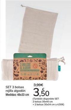 Oferta de SET 3 bolsas rejilla algodón por 3,5€