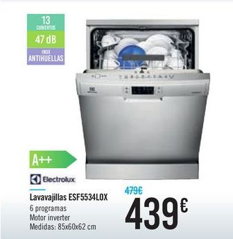 Oferta de Lavavajillas EDF5534LOX Electrolux  por 439€