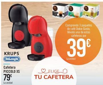 Oferta de Cafetera PICCOLO XS KRUPS DeLonghi por 79€