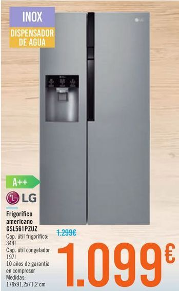 Oferta de Frigorífico americano GSL561PZUZ LG por 1099€
