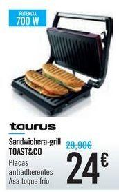 Oferta de Sandwichera-grill TOAST&CO Taurus por 24€