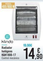 Oferta de Radiador halógeno KQH1800-17 Klindo  por 14,9€