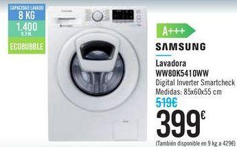 Oferta de Lavadora WW80K5410WW SAMSUNG por 399€
