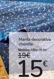 Oferta de Manta decorativa Chenilla  por 15€