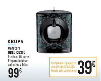 Oferta de Cafetera OBLO CUSTO KRUPS por 99€