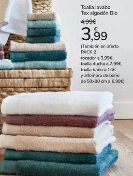Oferta de Toalla lavabo Tex Algodón Bio  por 3,99€
