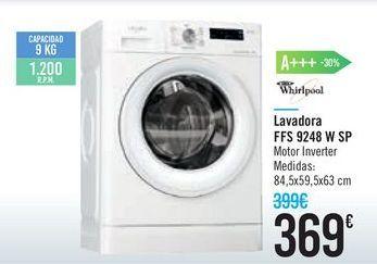 Oferta de Lavadoras Whirlpool FFS 9248 W SP  por 369€