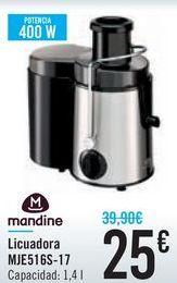 Oferta de Licuadora MJE516S-17 Mandine por 25鈧�