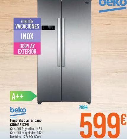 Oferta de Frigorífico americano GN04331XPN Beko  por 599€