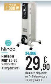 Oferta de Radiador KOR1E5-20 Klindo  por 29,9€