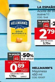 Oferta de Mayonesa Hellmann's por 1,79€