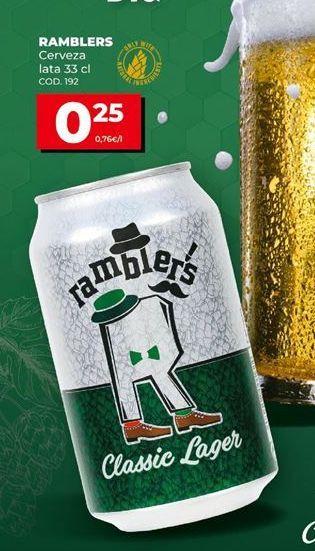 Oferta de Cerveza lata 33 cl. Ramblers por 0,25€