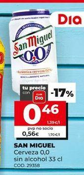 Oferta de Cerveza sin alcohol San Miguel por 0,46€