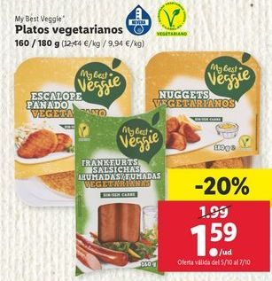 Oferta de Platos vegetarianos  My Best Veggie  por 1,59€