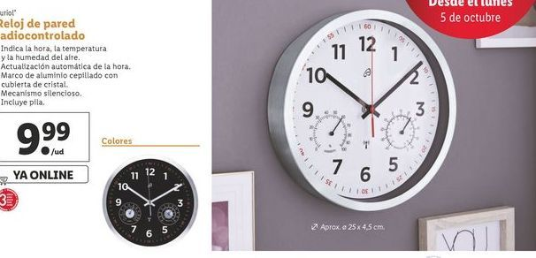 Oferta de Reloj de pared radiocontrolado  Auriol por 9,99€