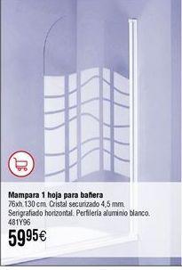 Oferta de Mampara baño 1 hoja por 59,95€