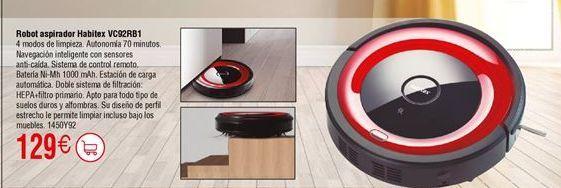 Oferta de Robot aspirador HABITEX VC92RB1 por 129€