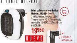 Oferta de Mini calefactor cerámico Habitex por 19,95€