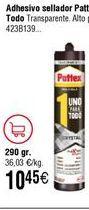 Oferta de Pattex Uno Para Todo Crystal, pega-sella color transparente, cartucho  por 10,45€