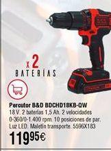 Oferta de Atornillador percutor BLACK&DECKER BDCHD18KB-QW por 119,95€
