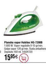 Oferta de Plancha de vapor HABITEX HG7200B de 1600 W por 15,95€