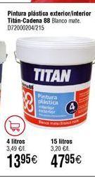 Oferta de Pintura plástica exterior Titan por 47,95€