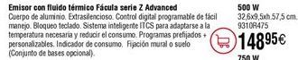 Oferta de Emisor fluido térmico FÁCULA serie Z Advanced 500W por 148,95€