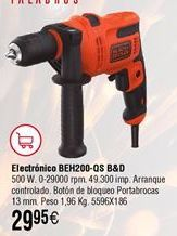 Oferta de Taladro percutor con cable BLACK&DECKER BEH200-QS por 29,95€