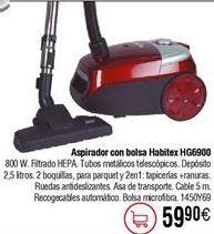 Oferta de Aspirador con bolsa HABITEX 800W HG6900 por 59,9€