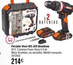 Oferta de Atornillador percutor WORX WX-JCR 20V por 214€