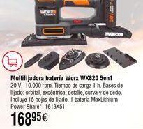 Oferta de Multilijadora batería WORX WX820 5 en 1 por 168,95€