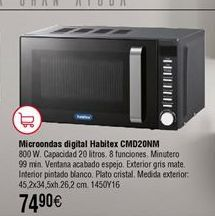 Oferta de Microondas digital 20L HABITEX CMD20NM por 74,9€