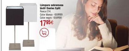 Oferta de Lámpara sobremesa táctil DUOLEC Split negro por 17,95€