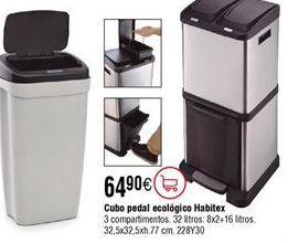 Oferta de Cubo pedal ecológico HABITEX 32 L por 64,9€