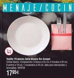 Oferta de Vajilla 19 piezas ARCOPAL Zelie por 17,95€