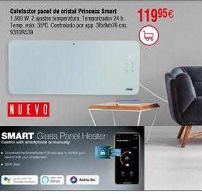 Oferta de Calefactor panel de cristal  Princess Smart  por 11,95€