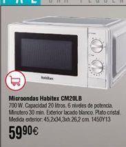 Oferta de Microondas mecánico 20L HABITEX CM20LB por 59,9€