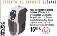 Oferta de Mini calefactor cerámico Habitex por 16,95€