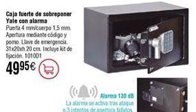 Oferta de Caja fuerte de sobreponer YALE con alarma 31x20xh.20 cm por 49,95€