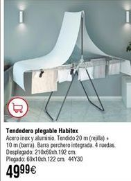Oferta de Tendedero HABITEX plegable con barra por 49,9€